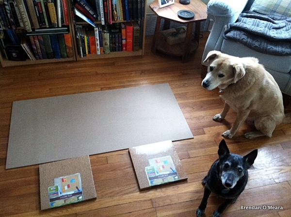 "1/4 "", 2' x 4' product panel from Home Depot, two 4-packs of 12""x12"" cork from Target, Smarty and Jack optional."